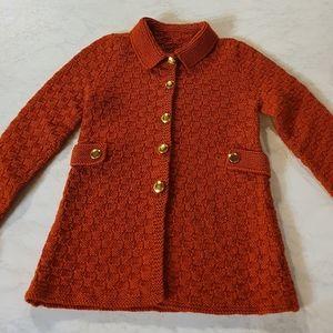 Handmade girls burnt red knitted jacket